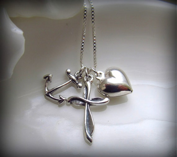 Anchor Heart Cross Necklace, 925 Sterling Silver on 18 Inch Sterling Silver Chain, FAITH HOPE & CHARITY
