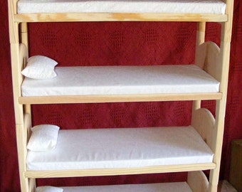 Doll Bunk Bed Stackable Wooden Quad Bunkbed Set with Foam Mattresses and Pillows Wooden Quadruple for 18 Inch Dolls American Made for Girls
