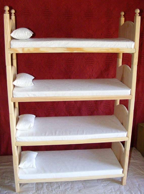 Items similar to Doll Bunk Bed Stackable Wooden Quad