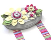 Hair Clip Holder- Yellow and Pink Flowers