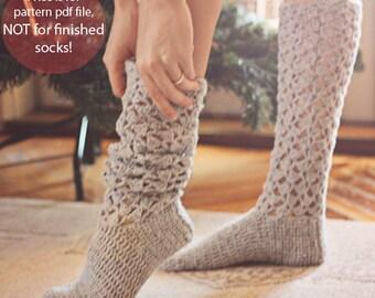 Crochet PATTERN for socks  - Christmas Morning Socks