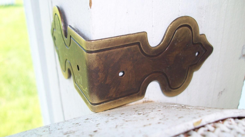 Decorative Box Corner Brass Plated : Antique corner bracket old world brackets brass