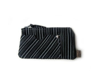 leather mini wallet black striped zippered card holder little coin pouch
