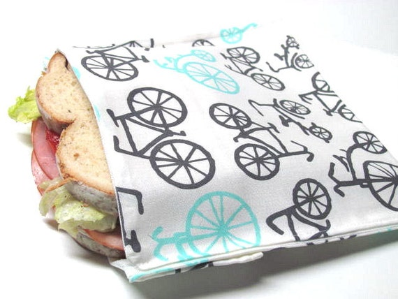 Reusable Sandwich Bag, Bicycle, Eco Friendly Lunch Bag, Snack Bag, Bike, Sports, Outdoors, Ready to Ship