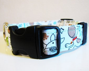 SALE - White Scribble Doodle Dog Collar - Size M
