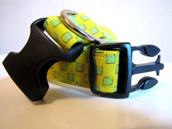 Lime Green Squares Dog Collar - Size M