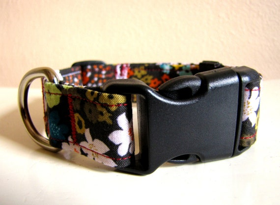 SALE - Vintage Inspired Brown Orange Teal Floral Dog Collar - Size S/M