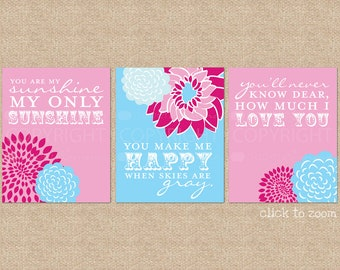 You are My Sunshine Nursery Art Prints, 3 Print Set // N-G03-3PS AA1