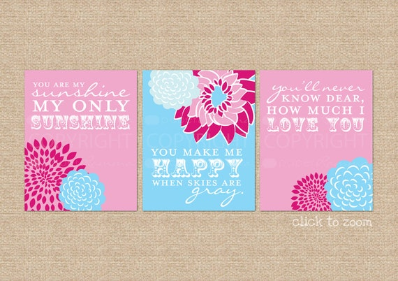 Reserved for NicRR - You are My Sunshine Nursery Prints, 3 Print Set, NOTES: 8x10 CANVAS