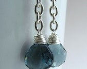 Blue Quartz Dangle Earrings with Thick Chain