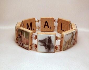 MALINOIS Bracelet / Dog Lover / Handmade Jewelry / Upcycled SCRABBLE / Unusual Gifts / Belgian Shepherd