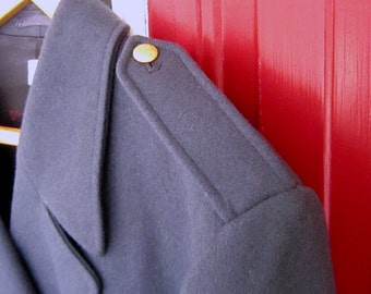 Swedish Army Wool Military Captain Winter Coat with Brass Buttons MINT