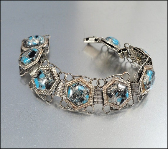 Vintage Bracelet Silver Confetti Lucite Turquoise Black Geometric Modern 1960s Jewelry