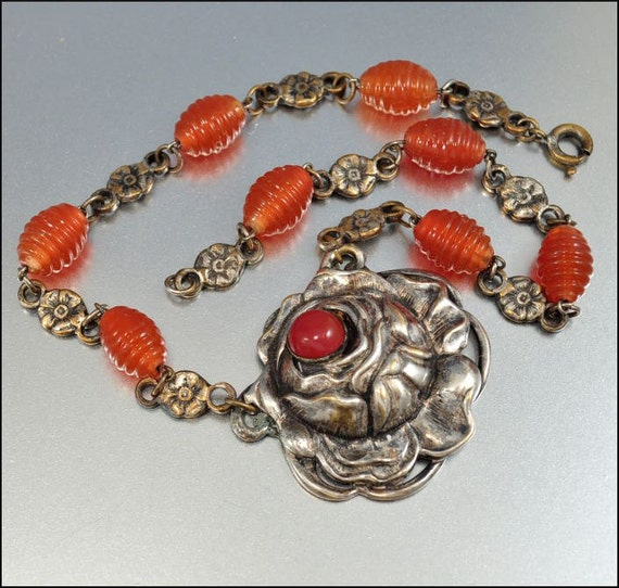 RESERVED Art Deco Necklace Czech Glass Bead Vintage Jewelry Carnelian Silver Rose 1930s