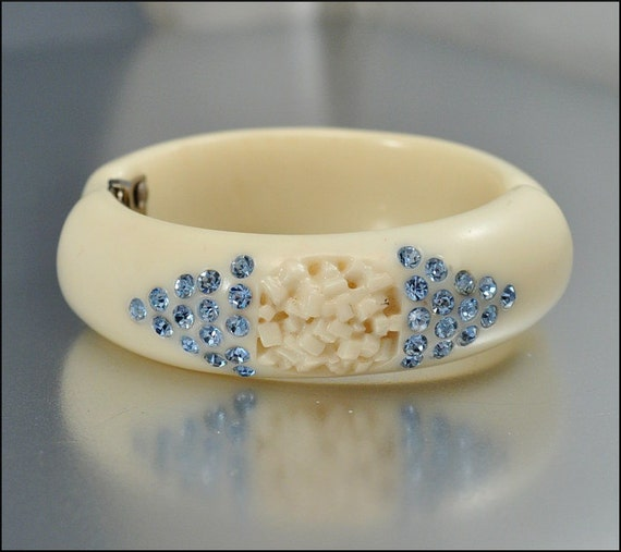 Vintage Rhinestone Bracelet Bangle Clamper Lucite Wide Blue Chunky 1950s Costume Jewelry