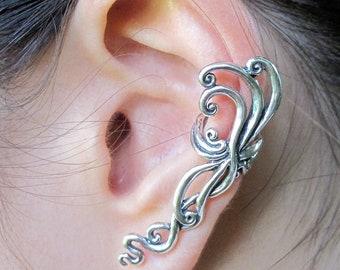 Ear Cuff Silver Ear Wrap Siren's Song Ear Cuff Swirl Ear Cuff Swirl Earring Spiral Ear Cuff Spiral Earring Abstract Jewelry Wave Jewelry