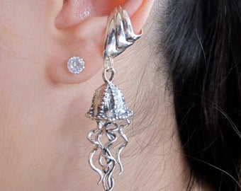 Jellyfish Earring Silver - Jellyfish Ear Cuff - Jellyfish Jewelry Tentacle Earring Tentacle Jewelry - Non Pierced Earring Ear Cuff Ear Wrap