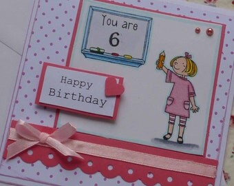 HAPPY BIRTHDAY - Handmade blank greeting card with pretty little girl