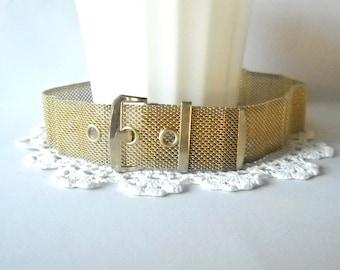 Vintage Belt Gold Belt Mesh Metal Belt Disco Belt