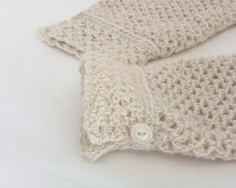 Bridal Gloves, Ivory Alpaca Wedding Gloves,  Fingerless Gloves, Winter Wedding, Lace Fingerless Gloves, Crocheted Gloves