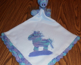 Blue Baby Receiving Blanket with Crochet Rocking Horse Applique