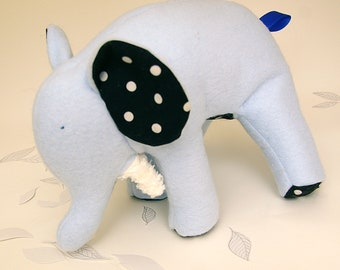 Blue-Soft Fleece Elephant White Polka Dots on Black Cotton and chenille tusks