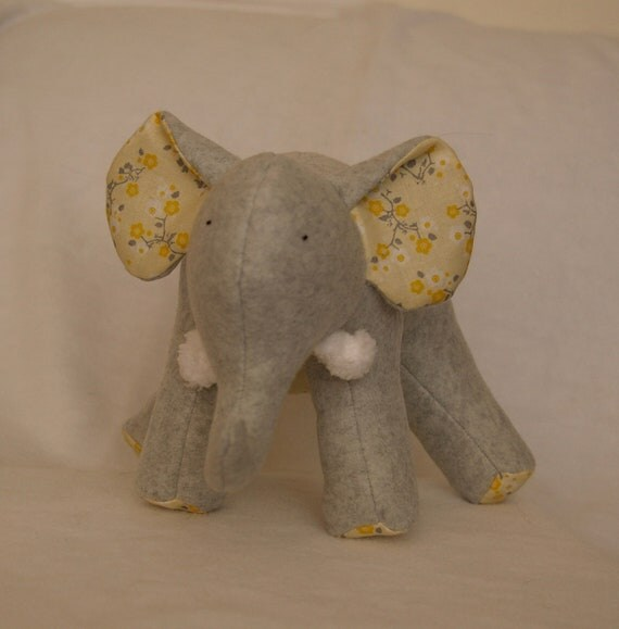 Blossom Grey - Plush Gray Fleece Elephant with yellow and grey retro flowers on her tummy and soft chenille tusks - ready to ship