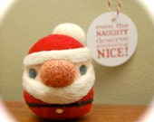 One Little Needle Felted Christmas Santa Egg - Father Christmas - MADE TO ORDER