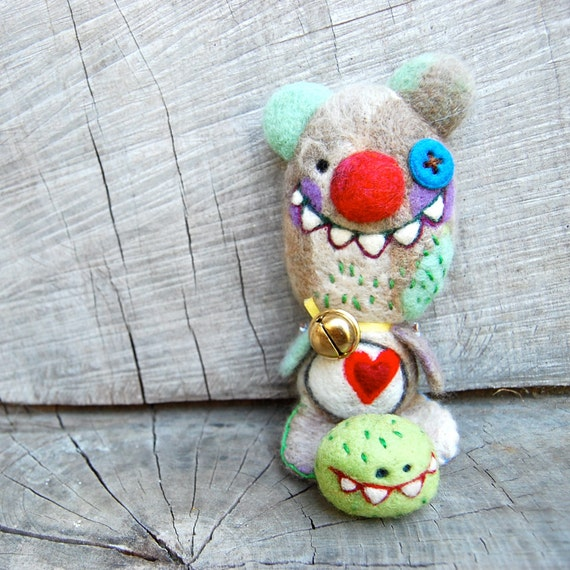 Ready to Ship Creepy Valentine Teddy Bear and his Friend