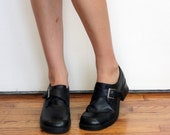 Black chunky school girl 90s ankle boots size 8.5
