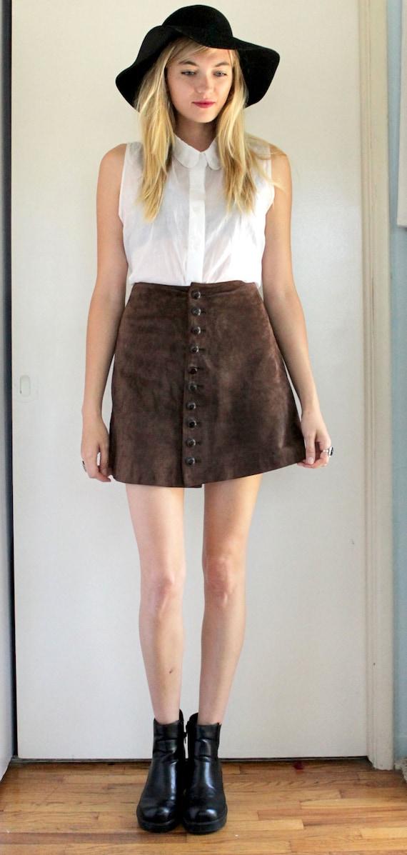 Brown leather 90s mini skirt