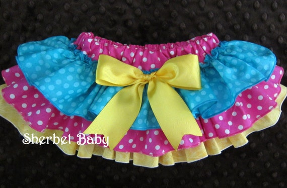 Sassy Pants Ruffle Diaper Cover Bloomers Hot Pink Yellow Teal Blue with Bow