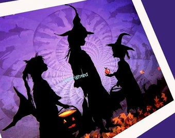 Three Witches- Silhouette  Halloween Card #15