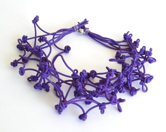 purple necklace, rubber jewellery,  violet tulip