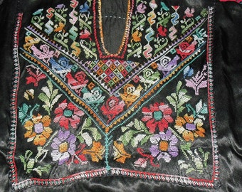 Vintage SUPERB Palestinian Bedouin Hand Cross Stitched Embroidered Kaftan Dress Primary Colors on Black Satin