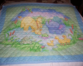 Little Pond Animals Reversible Cotton Baby/Toddler Quilt-NEWLY MADE 2016