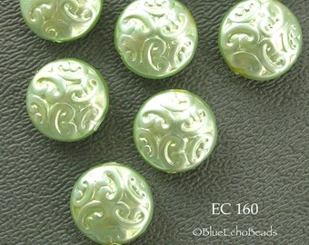 14mm Czech Glass Brocade Coin Beads, Opqaue Green Ice (EC 160) 6 pcs BlueEchoBeads