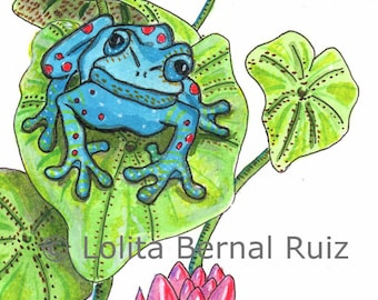 blue frog on lily pad painting / amphibian art / lillies / flowers / botanical / pond / reproduction / 8 x 10 inch / P103