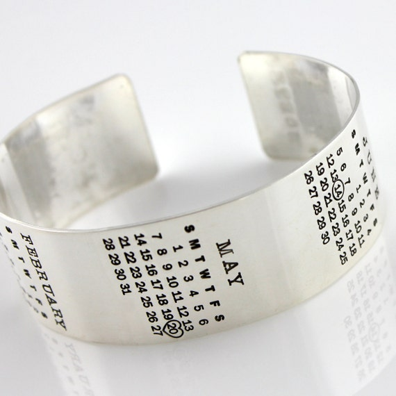 Multiple Calendar Bracelet - Mark Your Calendar Cuff - hand stamped and personalized sterling silver cuff bracelet