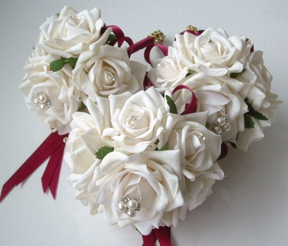 Brides Maids Jewelled Bouquet Bundle  - Off White Roses