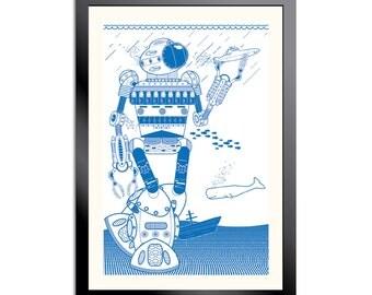 Blue Robot Under the Sea