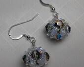 Orb crystal beaded bead earrings