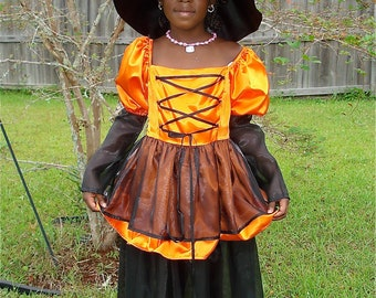 Handmade Witch Halloween Costume / Girls Size 7 / Dress Up / Play /  Orange/Black