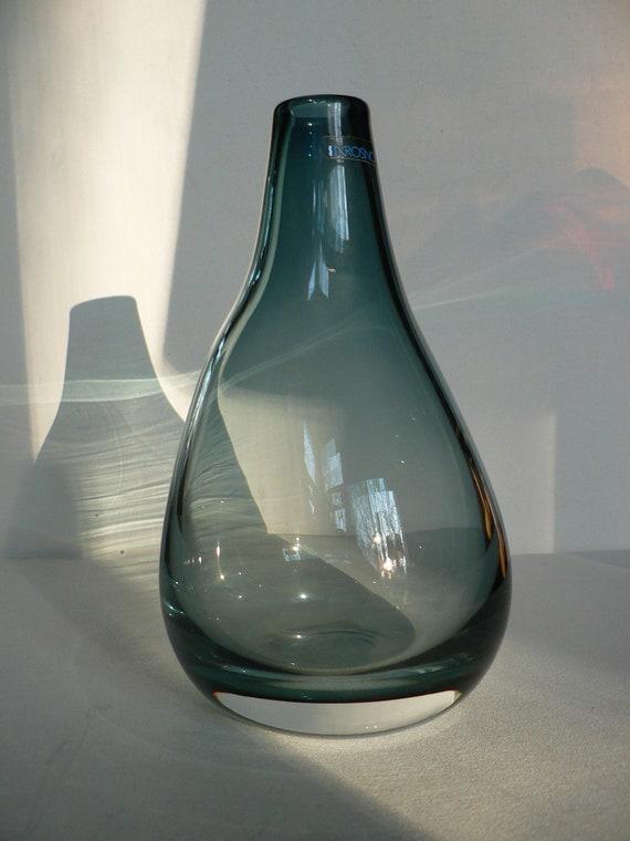Vintage Handblown Smokey Blue Glass Vase By Krosno Poland
