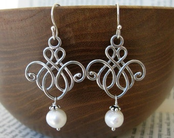 On a Whimsy Earrings . Scroll Filigrees with Freshwater Pearl and Sterling Silver
