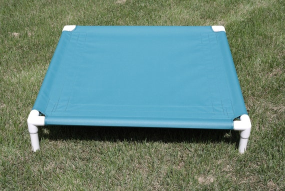 Clearance Dog Bed, PVC Canvas Dog Cot Bed, Color Teal 32x34x8 X Small To Medium Dogs Up To 80 Pounds.