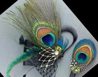 Peacock Feather Fascinator Set, Bridal Fascinator, Something Blue Wedding Headpiece, Wedding Hair Clip, Men Buttonhole Pin, SIENNA PLUTO