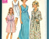 Simplicity 7957 Robe Nightgown Vintage Sewing Pattern 1960s Misses Size 10 Bust 32.5 UNCUT Lingerie