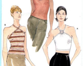 Vogue 9823 Halter Top Close Fitting Very Easy Sewing Pattern Misses Sizes 12-14-16 UNCUT Summer Tops