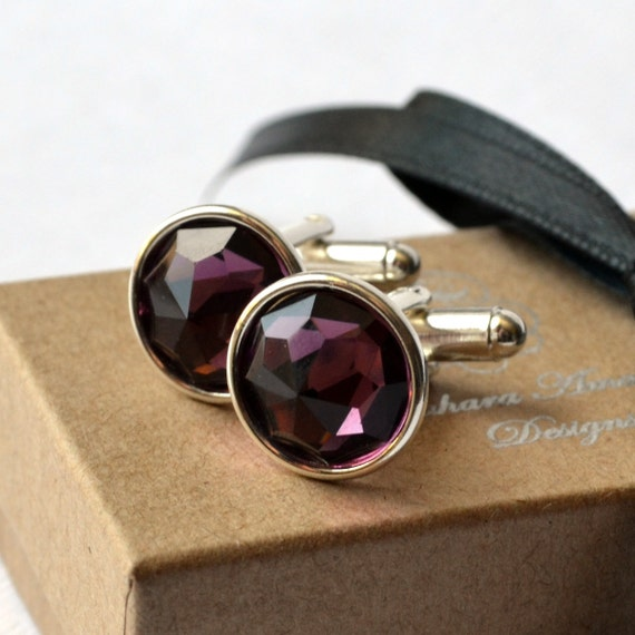 Real Men Wear Purple - Vintage Swarovski Amethyst Round Swarovski Crystal on a Silver or Gold Cuff Link